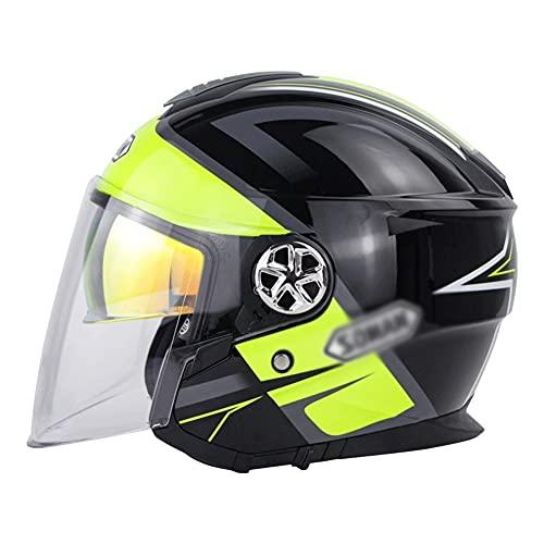 Casco Motocicleta Cara Abierta Dot/ECE Homologado Moto Racing Cascos de Época con Doble Lente Casco de Motocicleta (Color : Black, Size : L/Large 56-57cm)