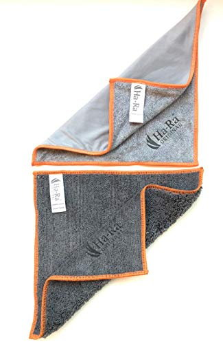 Ha-Ra 2er Tuch SET: ideal fürs Auto: 1 x Staubtuch 25x25cm + 1 x Care Wash doppelseitiges Tuch 25x25 cm (Star-Seite und eine Shiny-Seite zum Polieren)