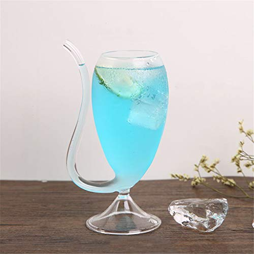 RED-Rainbow Wine Whiskey Glass, Lead-Free Heat Resistant Glass Sucking Juice Milk Cup Tea Wine Cup with Drinking Tube Straw - Goblet Flat Cups Infuser Clear Wall Beer Double Teacup Drink (A)