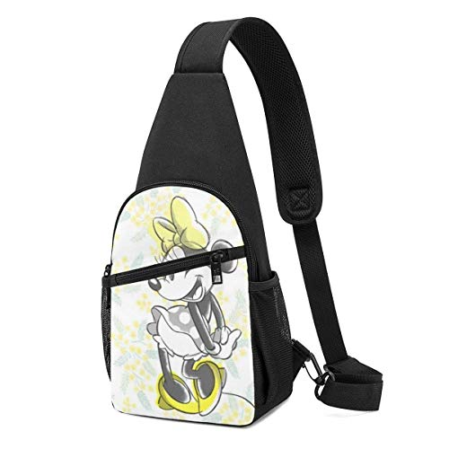Boweike Sling Backpack Casual Yellow Minnie Mouse Crossbody Daypack Shoulder Bag Chest Bag Rucksack