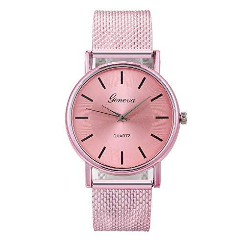 Damenuhr Frauen Uhr Mode Einfach Armbanduhr Edelstahl Band Quarzuhr Damen Uhren Schmuck Geschenk Yuwegr (Rosa)