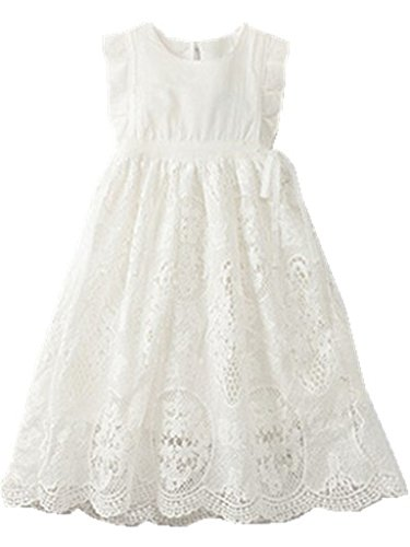 Bow Dream Flower Girl's Dress Vintage Lace Off White 4