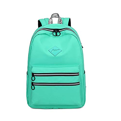 Casual Waterproof Backpack for Girl and Boy Pure Color Bookbag for Teen-grassgreen