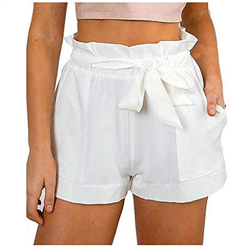 SSMENG Shorts for Women High Waisted Shorts Striped Ruffle Elastic Waist Summer Beach Short with Pockets Belt Casual Shorts White