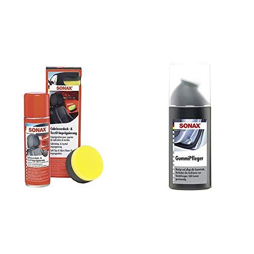 SONAX Cabrioverdeck- & TextilImprägnierung (300 ml) Versiegelung und Imprägnierung + GummiPfleger mit Schwammapplikator (100 ml)