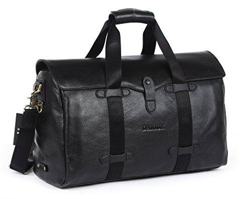 【DANJUE】本物 正規品 天然皮革 牛革 ダレスバッグ ボストンバッグ メンズ 革 大きい 15寸 大きめ 大容量 丈夫 旅行 ノートパソコン収納 革鞄 ショルダーバッグ 斜めがけバッグ メンズ 3552-7 (黒)