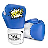 SKL Kinder Boxhandschuhe, Pu Kids Boxing Gloves Kinder Cartoon Sparring Boxhandschuhe Training Alter 5-12 Jahre (Blau)