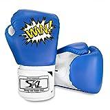 SKL Guantes de Boxeo para Niños 4oz Guantes de Boxeo de Combate de Dibujos Animados para niños Mitones de Entrenamiento Junior Punch PU Leather Edad 5-12 años(Azul)
