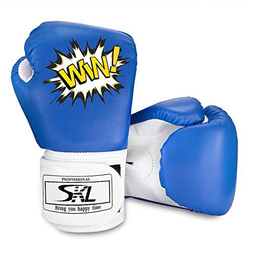 SKL Kinder Boxhandschuhe, Pu Kids Boxing Gloves Kinder Cartoon Sparring Boxhandschuhe Training Alter 5-12 Jahre (Blau)