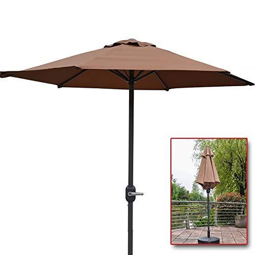 WGE Sonnenschirme Marktschirm 6 Fuß Sonnenschirm mit Kurbel & 6 Eisenrippen, Draussen Tischschirm für Strand, Garten, Hof (Color : Brown)