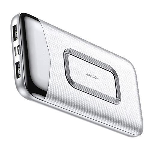 Externer Akku, kabellos, 10000 mAh, 10 W, Powerbank, Quick Charge Power, 2 USB-Ports mit PowerIQ und USB-C (nur Eingang), kompatibel mit iPhone, Samsung, Huawei, iPad und anderen, Weiß