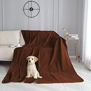 fuguitex Waterproof Dog Blanket Bed Cover Dog Crystal Velvet Fuzzy Cozy Plush Pet Blanket Throw Blanket for Couch Sofa(5280″,Chocolate+Navy