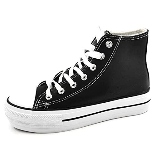Encarni Zapatería - Zapatillas Cásual para Mujer Lona con Plataforma (Polipiel - Negro, Numeric_37)