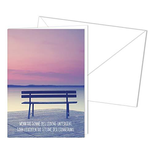 Würdevolle Trauerkarte mit Umschlag I DIN A6 I Beileidskarte Kondolenzkarte mit Natur-Motiv I hochwertig, modern I Erinnerung dv_499