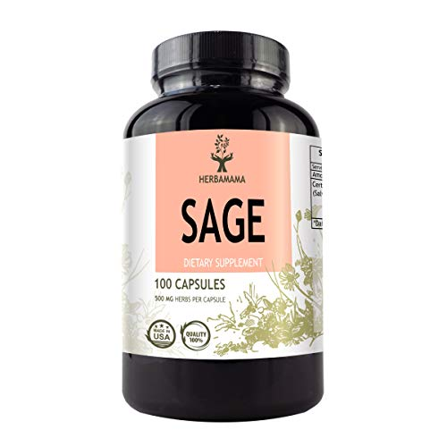 Sage 100 Capsules 500 mg | Filled with Organic Sage Leaf | Gut Health & Digestive Function | Brain Function | Non-GMO