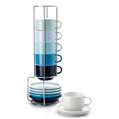 Sweese 405.003 6-teilig Stapelbare Espressotassen Set aus Porzellan, Kaffeetassen mit Untertasse und Metall Ständer, Blaue Serie, 120 ml