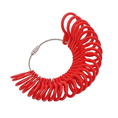 NIUPIKA Fingermessringe, Messgerät für Ringe, 27 Stück, Kunststoff rot