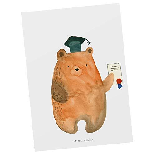 Mr. & Mrs. Panda Grußkarte, Ansichtskarte, Postkarte Prüfungsbär - Farbe Weiß