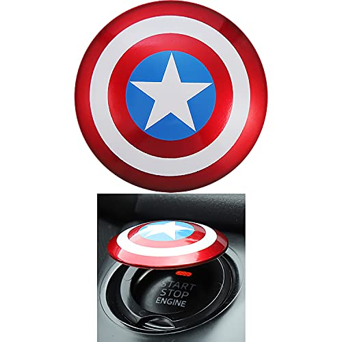 Car Engine Start Stop Button Cover Press The Super Hero Start Button Cover to Prevent Scratches, Car Engine Decoration Cover Transformer (Blue)