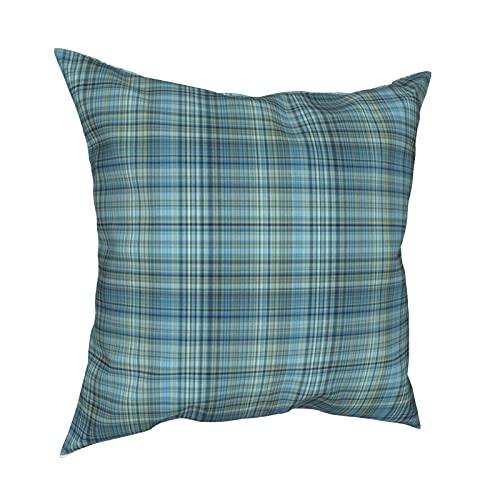 Reebos Funda de almohada decorativa de 45,7 x 45,7 cm, color azul caqui Glen Plaid funda de cojín para sofá, silla, dormitorios