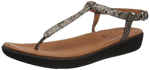 FitFlop Women's TIA Toe-Thong Sandals Flat, Taupe Snake, 9 M US