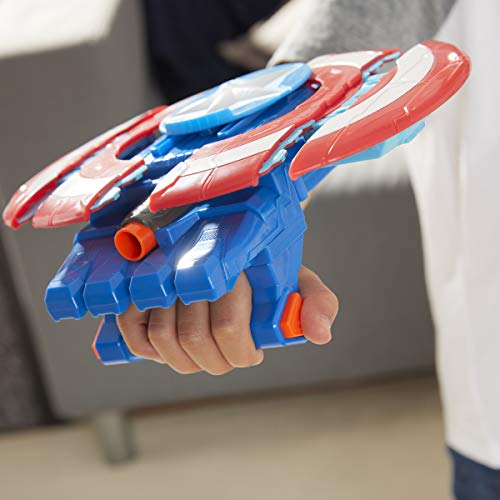 Avengers Hasbro Marvel Mech Strike Captain America Strikeshot Shield Role Play Toy with 3 NERF Darts, Pull Handle to Expand, for Kids Ages 5 and Up