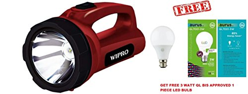 Wipro Emerald 5-Watt Rechargeable LED Torch (Red)