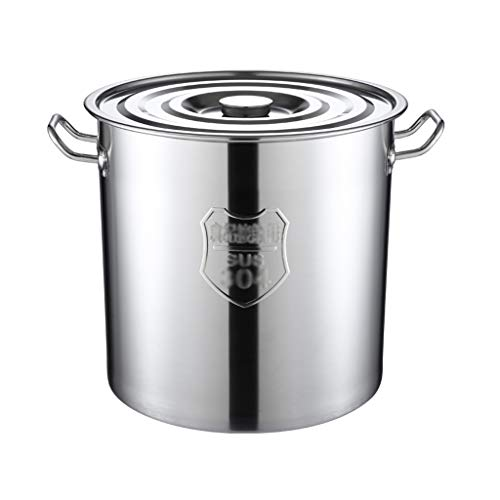 Stockpot Heavy-Gauge Stainless Steel Stock Pot,New Professional Commercial Grade,3-Ply Clad Base,Induction Ready,with Lid Cover (Color : Silver, Size : 37cm*36cm)