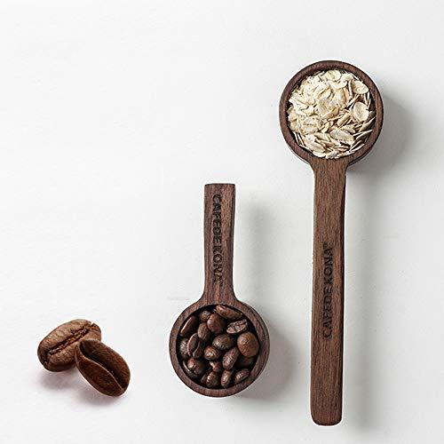 2er Set HARVESTFLY Kaffeemesslöffel aus Schwarze Walnuss I Kaffeedossierer aus Holz I Kaffeelöffel I Kaffeedossierlöffe I Messlöffel (Kapazität 8g+10g)