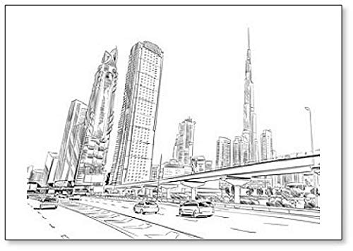 Dubai. Emiratos Arabes Unidos. Imán para nevera con ilustración de dibujo de ciudad hecho a mano
