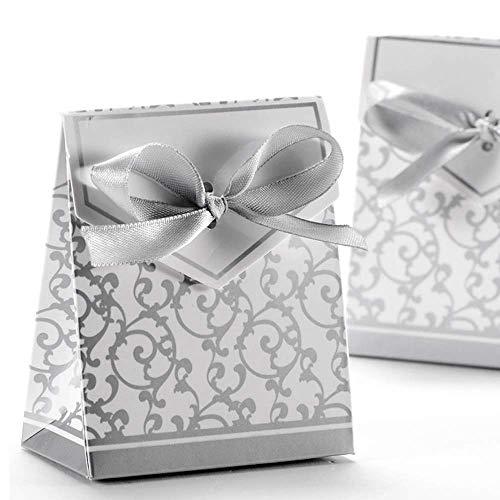 Anyasen 50 piezas caja regalo papel cajas de favor partido caja regalo los favores los dulces caramelos bombones confeti los regalos joyería para fiesta bienvenida bebé boda comunión navidad(P