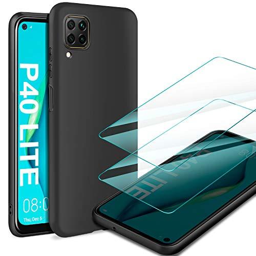 AROYI Funda Huawei P40 Lite & [2 Pack] Cristal Templado, Carcasa Silicona TPU Ultra Fina Alta Resistente y Flexibilidad Fundas Cover Caso para Huawei P40 Lite-Negro