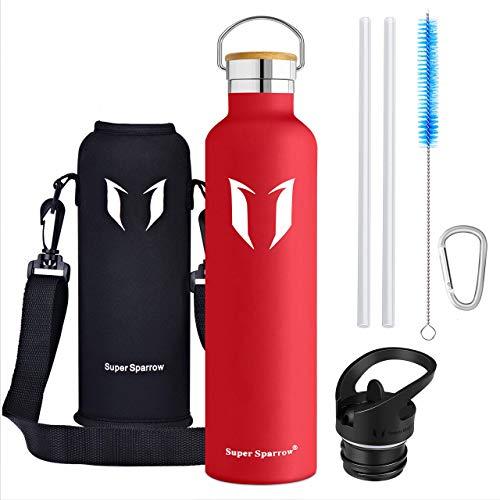 Super Sparrow Trinkflasche - 1000ml - Wasserflasche Doppelwandig Vakuum Isoliert Edelstahl - Auslaufsicher Sport Trinkflaschen | Ideale Flasche - BPA-freie - 2 Deckel + Tragetasche (1000ml-32oz, Lava)