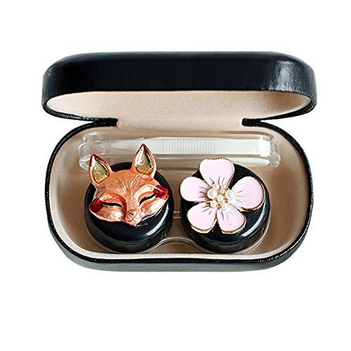 Vi.yo Mini Harte Schale Kontaktlinsenbehälter Nette Tier Kunststoff kosmetische Brillenetuis Kit Kasten mit Spiegel Tweezer & Objektiv-Stick für Reisen oder Daily Care - 9.5 * 5.5 * 2.5cm Schwarz