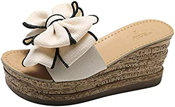 Aniywn Platform Wedges Slipper for Women Summer Bow Open Toe Sandals Flip Flops Beach Slippers Beige