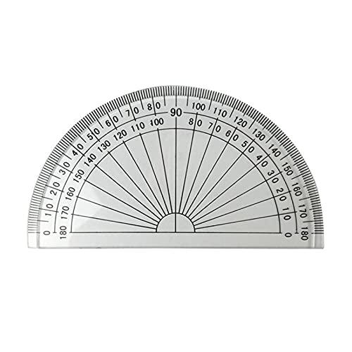 gobernante 20 unids 4 pulgadas 10 cm de plástico 180 grados Propractor para reglas de medición de ángulo Oficina de la escuela Matemáticas del estudiante (transparente) Para estudiantes niños