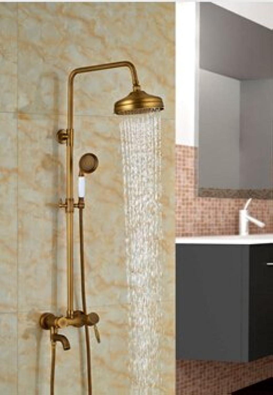 Luxurious shower Gro- und Einzelhandel an der Wand montierte Rund Regendusche Wasserhahn Set Whirlpool Auslauf Mischbatterie Messing antik Dusche spritze, Multi