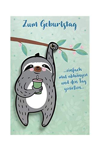 BSB Lustige Geburtstagskarte Geburtstagsgrüße Geburtstagswünsche - Moving Cards - Faultier - Umschlag rosa, 641006-2