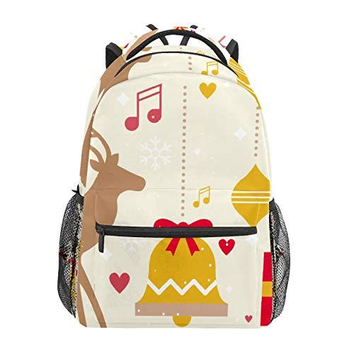Christmas Bell Deer Design Elements School Backpack Large Capacity Canvas Rucksack Satchel Casual Travel Daypack for Children Adult Teen Women Men