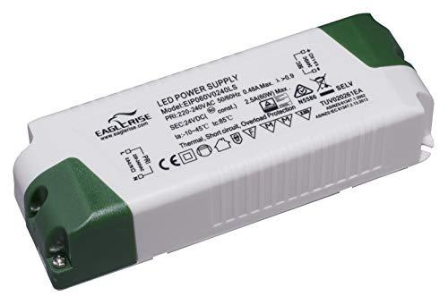 HuaTec Eaglerise Transformador LED 12V 24V 6W 9W 30W 60W 120W Tensión Constante Sin Parpadeo Flickerfree para Tira LED Alimentador Fuente de Alimentación LED (24V 60W)