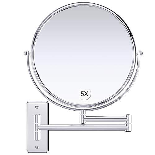 Gospire Kosmetikspiegel Wandmontage 9 Zoll Doppelseitiger Wandspiegel Rasierspiegel Schminkspiegel mit Normal und 5 Fach Vergrößerung, 360° Schwenkbar, verchromt für Badezimmer, Kosmetikstudio, Hotel
