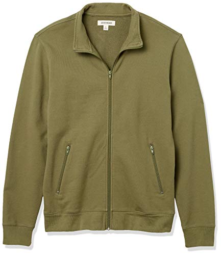 Amazon Brand - Goodthreads Men's Lightweight French Terry Track Jacket, Fatigue, X-Small