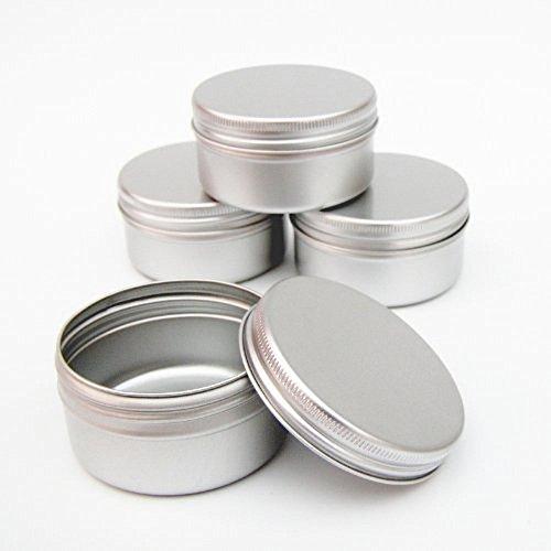 5 x de aluminio para caja metálica (50 ml) diseño de botes de color azul y blanco de envasado al vacío para su maquillaje de viaje de obra recortada para pistola de clavos de labios para maquillaje de cremas bálsamo para tatuajes con agarre de