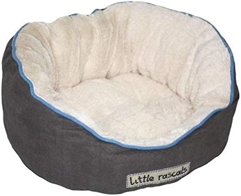 Little Rascals Night Night Oval Puppy or Kitten Bed, Light Grey