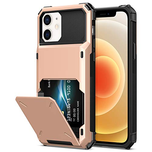 TITACUTE Compatible with iPhone 12 Pro Case with Card Holder Wallet Case Cover Dual Layer Slim Case Hybrid Shockproof Armor Case Back Flip Case Replacement for iPhone 12/12 Pro 5G 6.1 inch Rose Gold