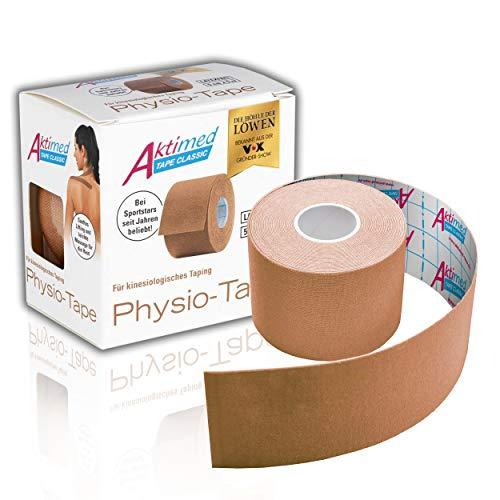 """AKTIMED Tape CLASSIC Physiotape – Sporttape elastisch & wasserfest – Dermatest """"sehr gut"""" – Physio Tape atmungsaktiv & hautfreundlich – Tape Kinesologie/Kinesiologie Tapes (beige)"""