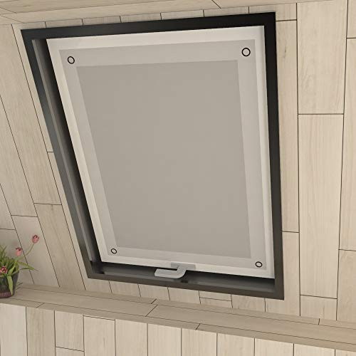 Eurohome Thermo Dachfenster Rollo ohne Bohren Sonnenschutz Verdunkelungsrollo mit Saugnäpfen für Velux Fenster Weiß 96 x 120 cm