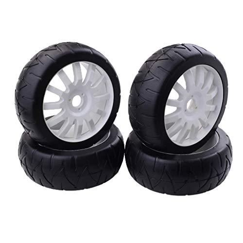 FLAMEER 4er Set Gummin Reifen Ersatzreifen Zubehör für 1:8 RC Autos