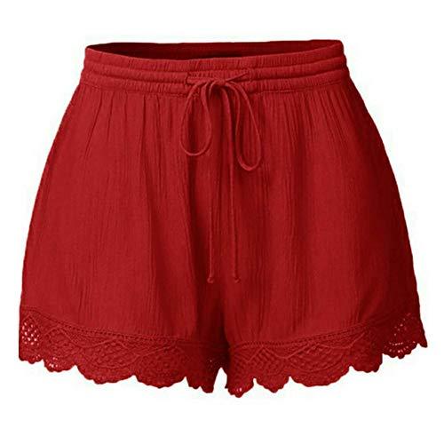 Lazzboy Frauen Lace Plus Size Seil Krawatte Shorts Yoga Sport Hosen Leggings Damen Spitze Sporthosen Sommerhosen Kordelzug Kurze Hose Taillenband Hotpants Strandshorts(Rot,S)