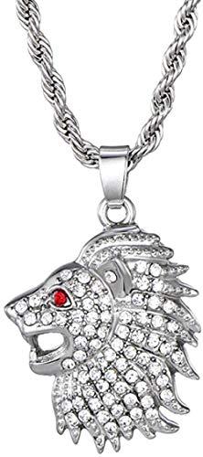 Collar Colgante De Cabeza De León Helado De Cristal Completo con Cadena, Collar Hombres, Joyería De Hip Hop, 75 Cm
